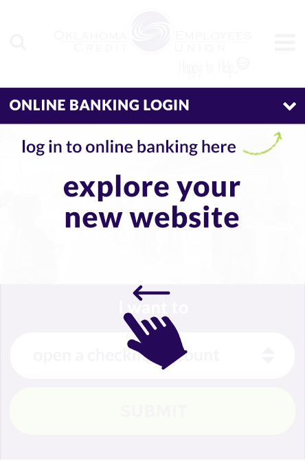 Homepage screen shot with arrows pointing to online banking login toggle