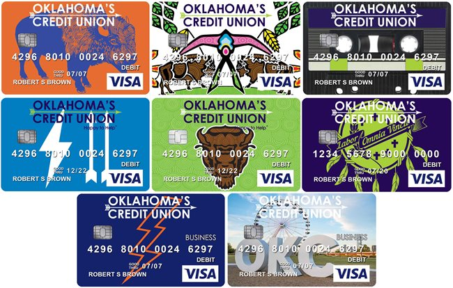 Collage of all the available debit card designs from OKCU